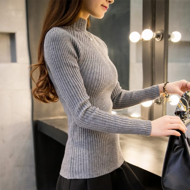 2019 Autumn Women lady sweater high elastic Solid Turtleneck sweater women slim sexy from Todays Fashion